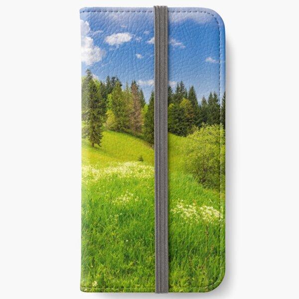 few trees on hillside meadow iPhone Wallet