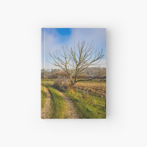 rural landscape with road through agricultural meadow in fog Hardcover Journal
