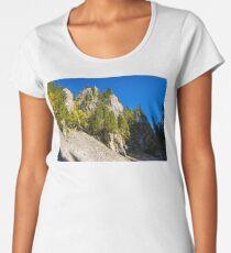 coniferous forest on a  rocky hillseide of mountain Women's Premium T-Shirt