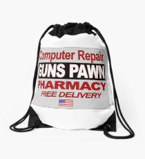 Computer repairs, gun pawn, pharmacy, free delivery Drawstring Bag