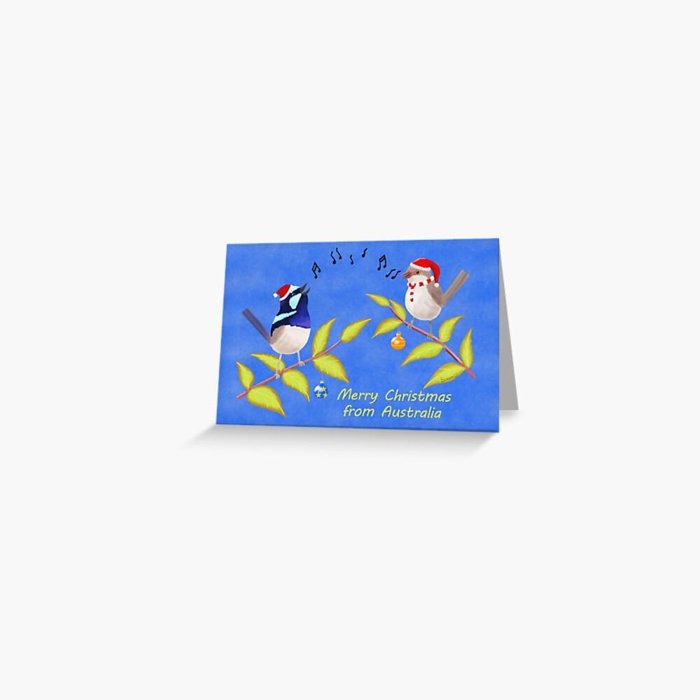 Australian Cute Blue Wren Christmas Carols  Greeting Card