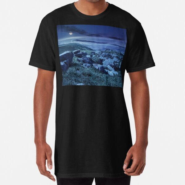 boulders on the mountain meadow at night  Long T-Shirt