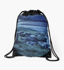 boulders on the mountain meadow at night  Drawstring Bag