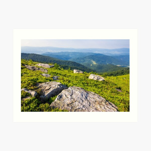 light on stone mountain slope Art Print