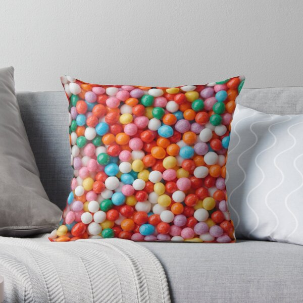Multicolored candy drops Throw Pillow
