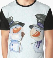 Two Snowmen with Black Hats Carrot Noses Graphic T-Shirt