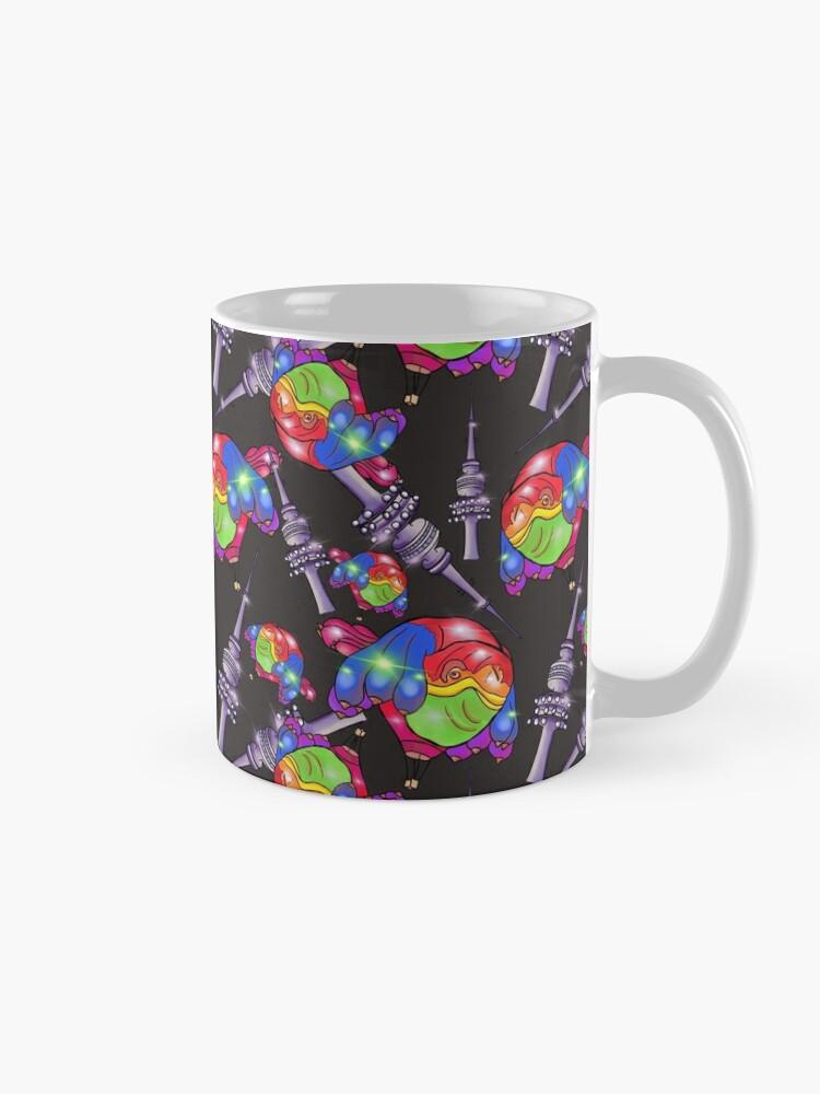Alternate view of Rainbow Skywhale says YES - Black  Mug