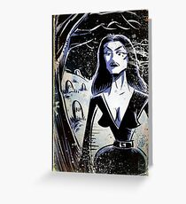Vampira Plan 9 From Outer Space Outerspace Ed Wood B-movie Bmovie Cult Classic film movie schlock bad movie female girl elvira black hair mistress of the dark horror host sci fi science fiction Greeting Card