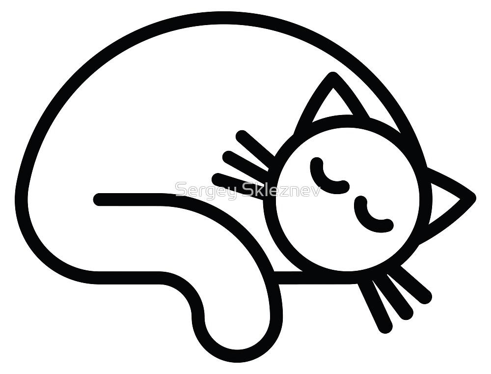 Sleeping white cat by Sergey Skleznev