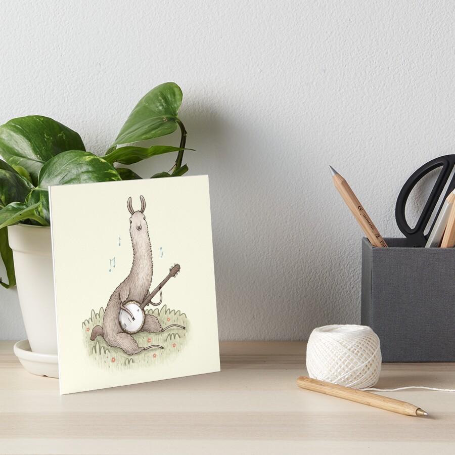 Banjo Llama Art Board Print