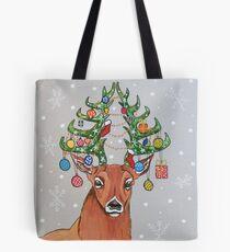 Christmas tree deer Tote Bag