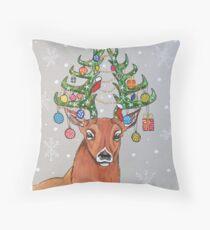 Christmas tree deer Throw Pillow