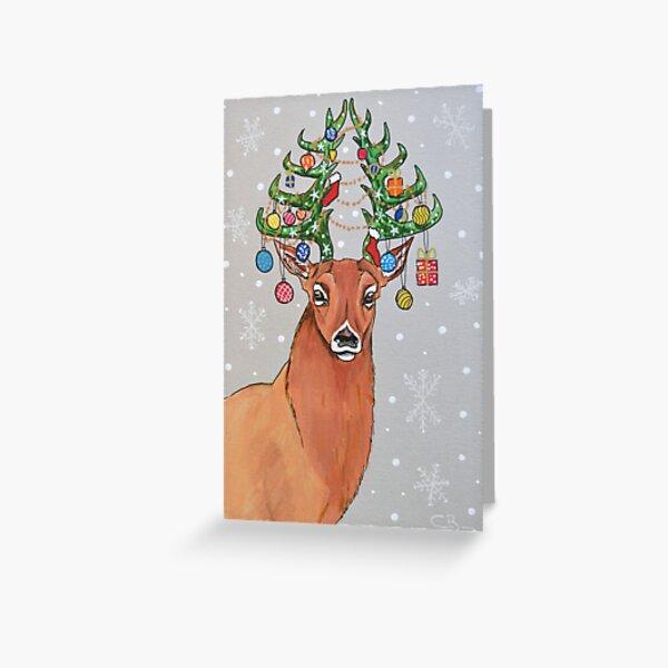 Christmas tree deer Greeting Card