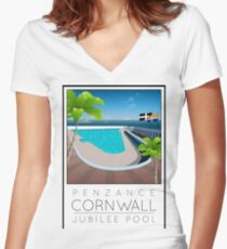 Lido Poster Penzance Jubilee 2 Women's Fitted V-Neck T-Shirt