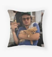 Joe Keery, Champagne and Pomeranian  Throw Pillow