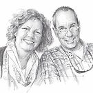 friends couple drawing by Mike Theuer