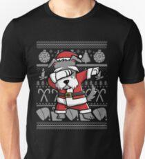 Camiseta unisex Dabbing Schnauzer Ugly Christmas Sweater Graphic