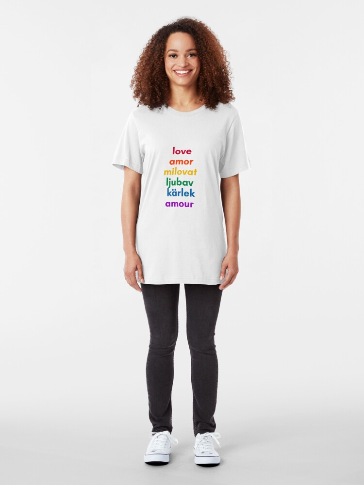 Alternate view of LOVE in 6 Languages Slim Fit T-Shirt