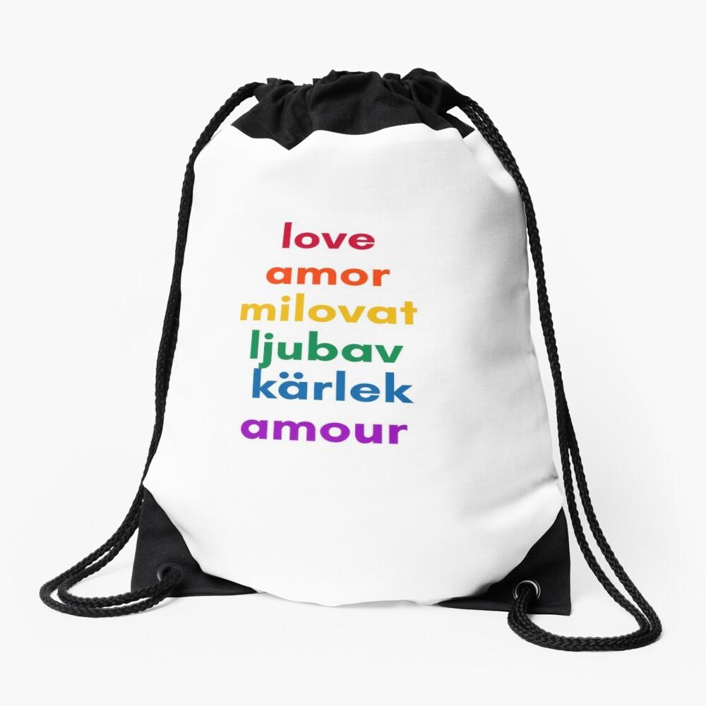 LOVE in 6 Languages Drawstring Bag