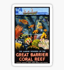 Australia Great Barrier Coral Reef Vintage Poster Sticker
