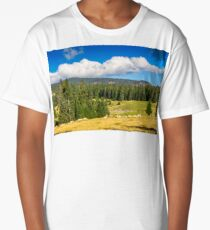 flock of sheep on the meadow near  forest in mountains Long T-Shirt