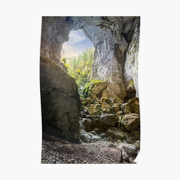 Cetatile cave sculpted by river in romanian mountains at sunrise Poster