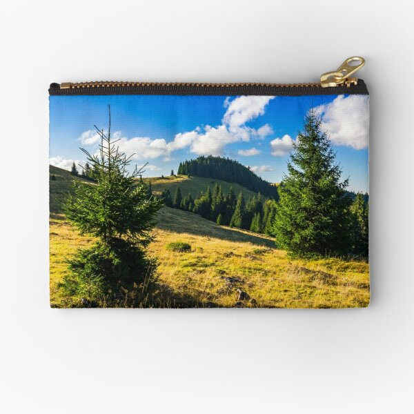 conifer forest  in mountains at sunrise Zipper Pouch