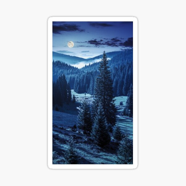 camping place near forest river in mountains at night Sticker