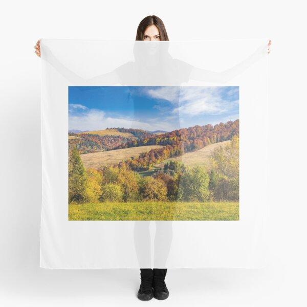 trees on autumn meadow in mountains Scarf