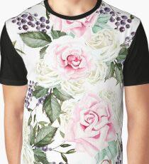 Romantic Watercolor Flower Pattern Graphic T-Shirt