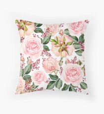 Romantic Watercolor Flower Pattern Throw Pillow