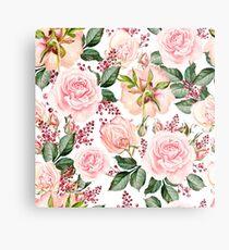 Romantic Watercolor Flower Pattern Metal Print