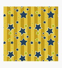 Blue stars on a yellow background Photographic Print