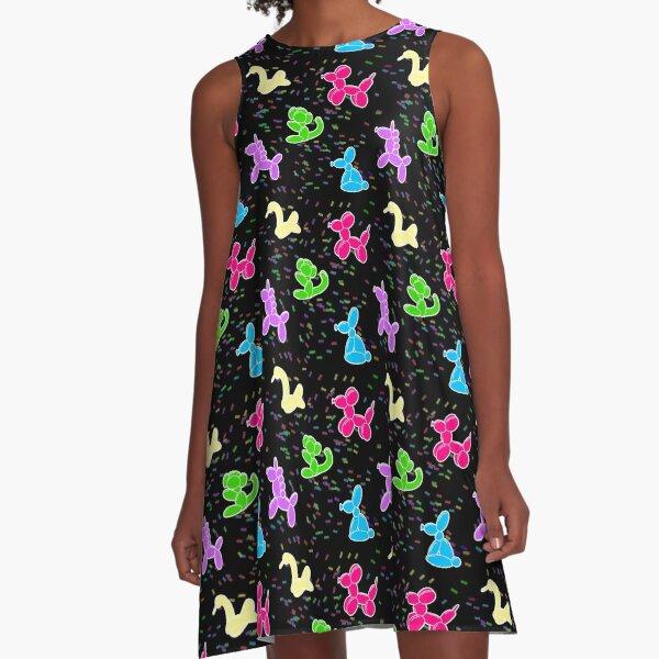 Classic Balloon Animals on Black A-Line Dress