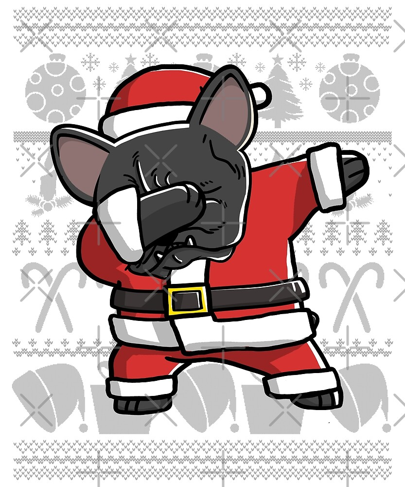 dabbing french bulldog ugly christmas sweater graphic