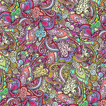Hand drawn abstract background ornament color pattern by anvino
