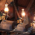 Old style wooden electrical chandelier  by Anatoliy
