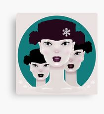 LET IT SNOW Surreal Shiny Pink Girls Portrait and Snowflakes Canvas Print
