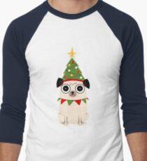 Camiseta ¾ bicolor para hombre Es Navidad por el amor de Pug