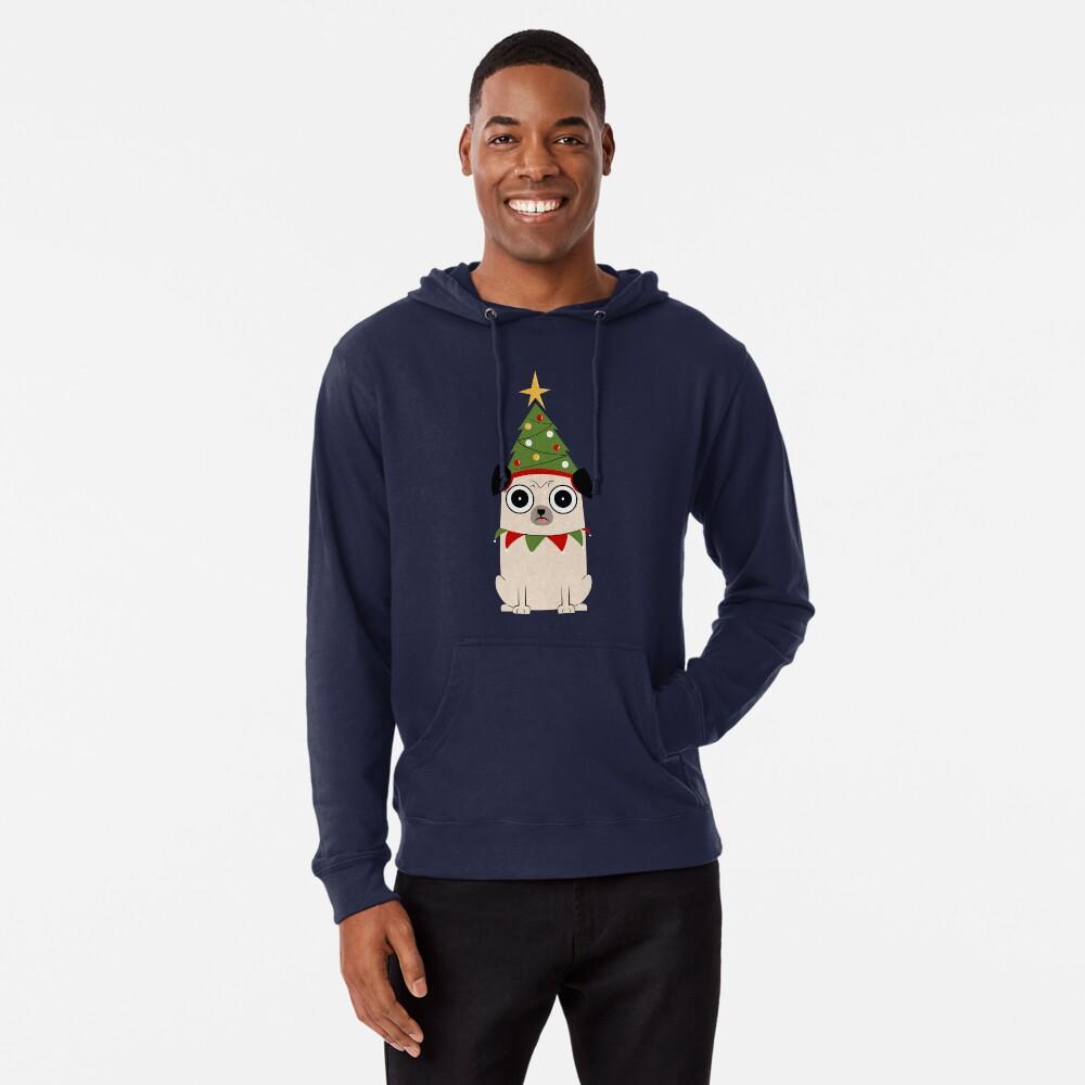 Es Navidad por el amor de Pug Sudadera ligera con capucha