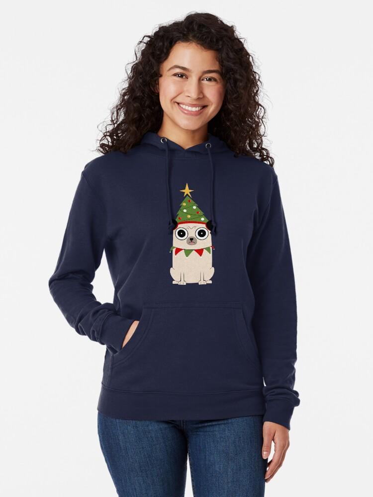 Vista alternativa de Sudadera ligera con capucha Es Navidad por el amor de Pug