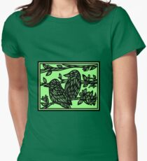 Assemblage Bird Green Black Womens Fitted T-Shirt