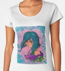 Watercolor Faded Blue Girl Women's Premium T-Shirt