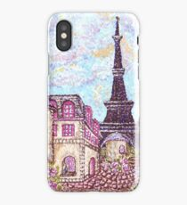 Paris Eiffel Tower inspired pointillism landscape by Kristie Hubler iPhone Case