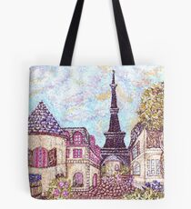 Paris Eiffel Tower inspired pointillism landscape by Kristie Hubler Tote Bag