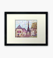 Paris Eiffel Tower inspired pointillism landscape by Kristie Hubler Framed Print