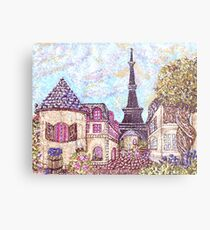 Paris Eiffel Tower inspired pointillism landscape by Kristie Hubler Metal Print