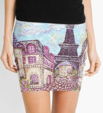 Paris Eiffel Tower inspired pointillism landscape by Kristie Hubler Mini Skirt