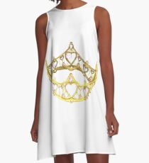 Queen of Hearts gold crown tiara by Kristie Hubler A-Line Dress