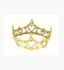 Queen of Hearts gold crown tiara by Kristie Hubler Art Print